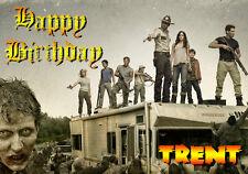 WALKING DEAD Personalised Happy Birthday Xmas Greeting zombie horror TV Art Card