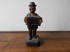 VINTAGE ANRI ACCORDION PLAYER HAND CARVED WOOD SCULPTURE INTERNATIONAL SALE