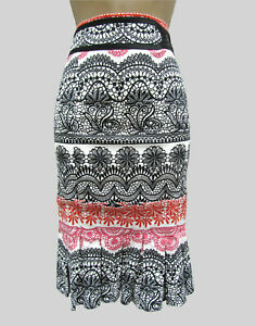 Karen Millen Red Black Embroidered Print Pencil Wiggle Skirt UK 10 EU 38 US 6