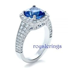 Wedding Ring in Solid 925 Silver 3.00ct Cushion Cut Blue Diamond Halo Engagement