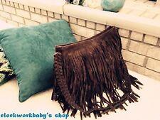 HIPPIE Suede Fringed Tassel Cross Body Messenger Bag Handbag Purse Boho gift..