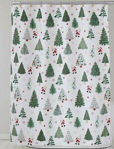 Winter Wonderland Santa's Trees Christmas Shower Curtain & Hook Set