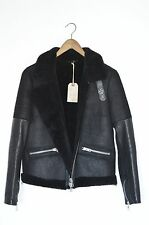 BRAND NEW AllSaints Ladies COEL SHEEPSKIN Leather Aviator Biker Jacket UK10 US6