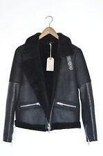 BRAND NEW AllSaints Ladies COEL SHEEPSKIN Leather Aviator Biker Jacket UK10 US6