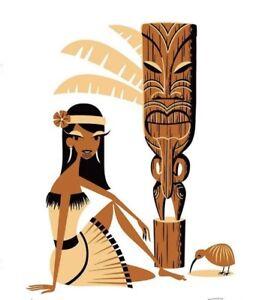 "SHAG Josh Agle ""Wahine Ata Ahua"" Unframed Serigraph Art Print Mint Tiki COA"