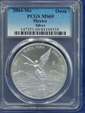 2004 Mo 1 OZ PCGS MS69 SILVER UNC ONZA or LIBERTAD of MEXICO WHITE REGISTRY!