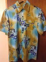 Vintage Napili Brown Abstract Men's Hawaiian Shirt Size Medium Rare
