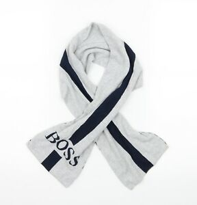 Boss Mens Grey Striped Knit Rectangle Scarf  One Size