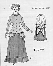 "18-19""Antique Parian French Fashion Lady Doll@1879 Dress/Skirt&Jacket Pattern"