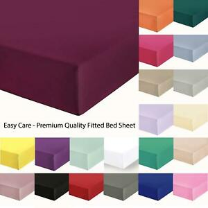 Luxury 200 TC 100% Egyptian Cotton plain Fitted Sheet Percale Sheets PillowCases