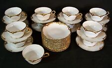 12 Vintage LIMOGES GDC Avenir Gold Encrusted Cups & Saucers & 12 Dessert Bowls