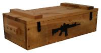 Rustic Wooden Ammo Box - Black Rifle Gun Accessories Storage Crate