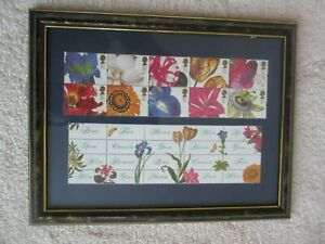 REDUCED - 10 beautiful set of framed stamps of bright flowers.