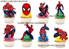 30 SPIDERMAN STAND UP Cupcake Cake Toppers Fairy Edible Paper Decorations KIDS