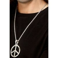 Men's Silver 1960's Peace Sign Hippie Medallion Fancy Dress Necklace Stag Fun