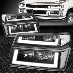 [LED DRL]FOR 04-12 CHEVY COLORADO GMC CANYON HEADLIGHT BUMPER LAMPS BLACK/CLEAR