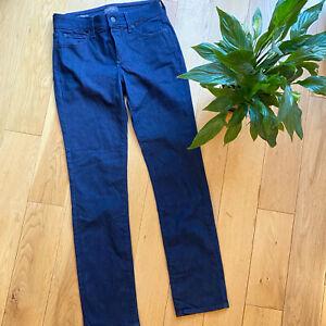 NYDJ UK 8 sheri slim straight fitted leg dark blue jeans lift and tuck comfort