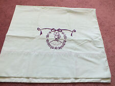 Collectible Pillowcase Mint Green Purple Embroidery Lady Bonnet 30 x 19 Nice