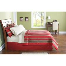 Mainstays Twin Size Bed in a Bag Bedding Set, Red Stripe New!