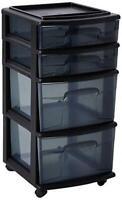 HOMZ Plastic 4 Drawer Medium Cart, Black Frame with  Assorted Colors , Designs