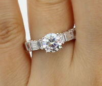 2.00 Ct 14K White Gold Round w Side Baguette Solitaire Engagement Promise Ring