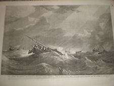 Dutch boats riding out a gale off Doggerbank by K Duncan 1855 old print