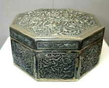 Antique Signed Asian T90 Silver Repousse Fish Turtles Snakes Dresser Trinket Box