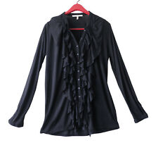 Soft Joie Black Viscose Jersey Ruffle Button Long Sleeve Shirt Knit Top Sz S