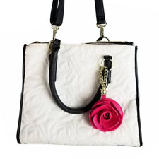 Betsey Johnson Pink Rose Charm Shoulder Bag Satchel Convertible Purse Quilted