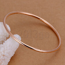 Circle Round Bangle Bracelet 0.3cm Yg Noble Rose Gold Silver Plated Hoop
