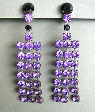 995 / BOUCLES D'OREILLE CLIPS STRASS VIOLETS
