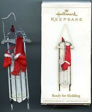 Hallmark READY FOR SLEDDING - Metal Christmas Ornament - 2006 with Box