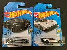 Hot Wheels Aston Martin Vulcan White and Bugatti Chiron Black 1/64