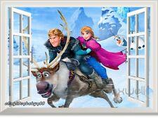 Frozen Anna Olaf Kristoff Sven 3D Window Wall Decal Removable Sticker Kids Decor