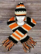 Crochet Beanie Hat and Tassel End Scarf Set Black Orange White Skull Cap A096