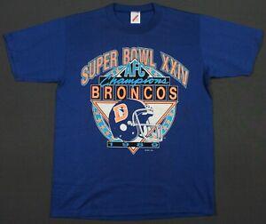 Denver Broncos Vintage 80's 1989 AFC Champs Super Bowl XXIV T-Shirt Large