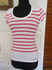 Tee shirt débardeur coton blanc rayé rose LITTLE MARCEL S 34/36