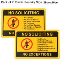 2x NO SOLICITING NO EXCEPTIONS Home Front Door Security Sign Waterproof 11 x