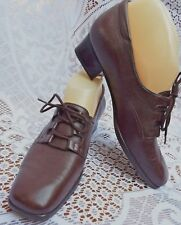 TROTTERS Luxury Butter Soft Leather Lace Up Low HeeL Shoes Dark Brown UK Size 4