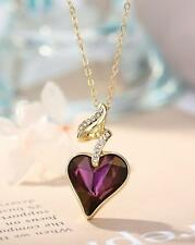 Made With Swarovski Crystal Purple Love Heart Necklace Pendant Valentines Gift