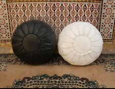 2  Handmade  Moroccan Pouf Black And White Leather Pouf Ottoman Pouff footstool