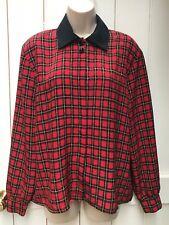 Vintage 80s 90s Red Black Tartan Check Blouse Shirt Scarf Print 12 14