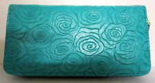ROSE EMBOSSED AQUA PU LEATHER TRAVEL WALLET PURSE CLUTCH HANDBAG WITH STRAP BN