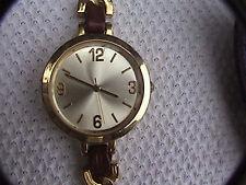 merona gold tone wrist watch leather and metal band fmdm133 second hand analog