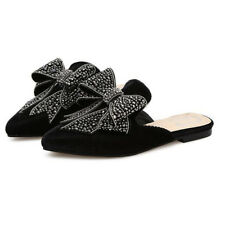 Rivet Bow Pointed Woman Street Slippers - Black (APG031404)