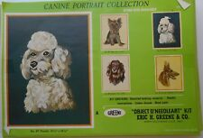 "Nib Green Crewel Embroidery Kit Poodle Object D'Needleart #87 12 1/2"" x 16 1/2"""