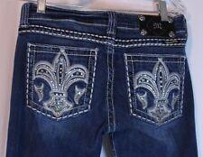 """Miss Me Fleur De Lis Jeans Size 28 x 31.5"""" Blue Denim See Description for Measur"""