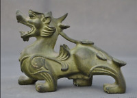 "6""  Ancient Old Chinese bronze Feng Shui Unicorn Brave troops Pixiu beast statue"