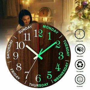 New 12 Inch Luminous Wall Clock Wooden Silent Non Ticking Night Glow In the Dark