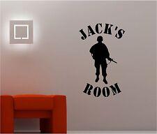 nombre con un soldado Salón Infantil Pegatina Adhesiva Vinílica Pared Dormitorio